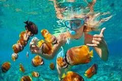 Ung kvinna som snorklar med fiskar för korallrev arkivfoton