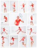Ung kvinna som spelar badminton över vit bakgrund Fotografering för Bildbyråer