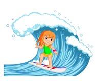 Ung kvinna som surfar med den stora vågen stock illustrationer