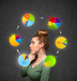 Ung kvinna som tänker med cirkeldiagramcirkulation runt om hennes huvud arkivfoto