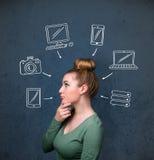 Ung kvinna som tänker med utdragna grejer runt om hennes huvud Arkivbilder