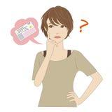 Ung kvinna som tänker om ID-kort stock illustrationer