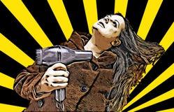 Ung kvinna som torkar hennes hår med en tork arkivfoto
