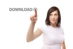 Ung kvinna som trycker på nedladdning Royaltyfria Bilder