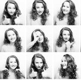 Ung kvinna som utför olika uttryck royaltyfri bild