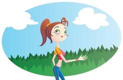 Ung kvinna som utomhus joggar. Royaltyfria Bilder