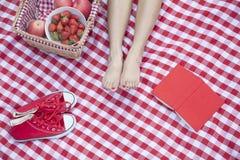 Ung kvinnas fot på en rutig filt med en picknickkorg, skor och en bok Arkivfoto