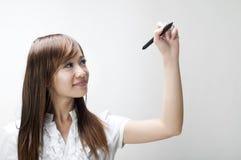 Ung kvinnateckning royaltyfri bild