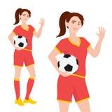 Ung kvinnlig associatonfotbollsspelare i sportswearanseende och hållande fotbollboll tonårs- vänlig flicka royaltyfri illustrationer