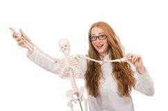 Ung kvinnlig doktor med skelettet som isoleras på Royaltyfri Fotografi