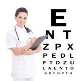 Ung kvinnlig doktorsögonläkare som isoleras på vit bakgrund royaltyfri bild