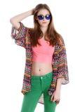 Ung kvinnlig handelsresande i solglasögon Royaltyfri Foto