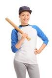 Ung kvinnlig idrottsman nen som rymmer ett baseballslagträ Royaltyfria Foton