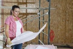 Ung kvinnlig leverantör som ser byggnadsplan med ställningen i bakgrund Royaltyfri Foto