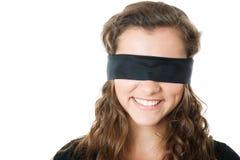 Ung kvinnlig med ögonbindeln Arkivfoto
