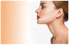 Ung kvinnlig med ren ny hud Arkivbilder