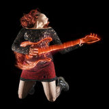 Abstrakt gitarrist arkivbilder