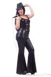 Ung kvinnlig sångare med mic Arkivbild