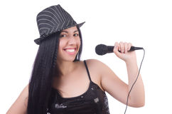 Ung kvinnlig sångare med mic Royaltyfri Fotografi