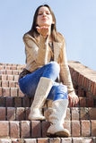 Ung kvinnlig som blåser en kyss Arkivfoton