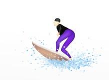 Ung kvinnligsurfare på en surfingbräda som spränger Throug stock illustrationer
