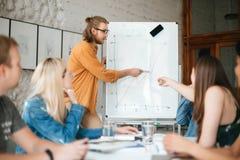 Ung lärare som står nära bräde och visar diagrammet till studenter Grupp av unga studenter som lyssnar hänsynsfullt arkivfoton
