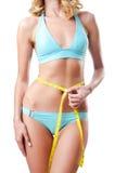 Ung lady med centimetr - begrepp för viktförlust Royaltyfria Foton
