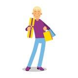 Ung le blond man i purpurfärgat sweateranseende med illustrationen för vektor för tecken för tecknad film för shoppingpåsar royaltyfri illustrationer