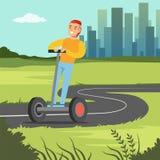 Ung le manridning på sparkcykeln på stadsbakgrund, för hjulmedel för elkraft två illustration för vektor stock illustrationer