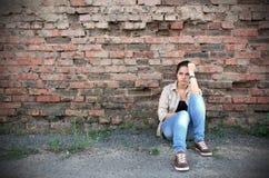 Ung ledsen kvinna Fotografering för Bildbyråer
