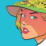 Ung ledsen kvinna i en hatt Arkivfoton