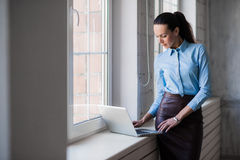 Ung lyckad lycklig le affärskvinna på bärbara datorn Arkivfoto