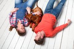 Ung lycklig familj som spelar med deras valp arkivfoto