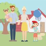Ung lycklig familj utanför framme av det härliga nya huset stock illustrationer