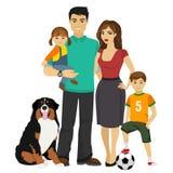 Ung lycklig familjvektorillustration royaltyfri illustrationer