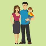Ung lycklig familjvektorillustration stock illustrationer