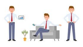 Ung lycklig kontorsarbetare i formella kläder som sitter på soffan, innehavsmartphone som visar infographics vektor illustrationer