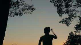 Ung lycklig kvinnabanhoppning, dans och hagyckel i skog efter solnedgång stock video