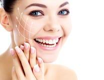 Ung lycklig kvinnlig med ren ny hud Arkivbild
