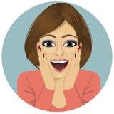 Ung lycklig le förvånad kvinna vektor illustrationer