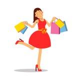 Ung lycklig le kvinna i rött klänninganseende med illustrationen för vektor för tecken för tecknad film för shoppingpåsar vektor illustrationer