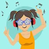 Ung lycklig tonårs- flicka som sjunger och har gyckel som lyssnar till musiken genom att använda trådlösa hörlurar royaltyfri illustrationer