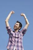 Ung lycklig vinnare Fotografering för Bildbyråer