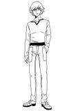 Ung man för mode i exponeringsglas Arkivbild