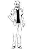 Ung man för mode i skjorta Arkivfoton