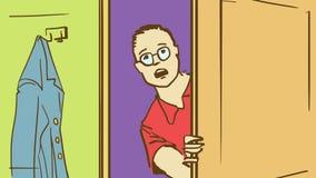 Ung man för tecknad film i exponeringsglas som öppnar en dörr och ser in i ett rum Royaltyfri Fotografi