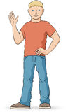 Ung man, i att vinka för skjorta och för jeans Arkivfoton