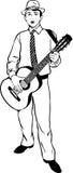 Ung man i en hatt som spelar en gitarr Arkivbilder
