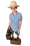 Ung man i exponeringsglas med två påsar som är klara att resa Arkivbilder