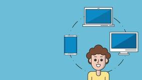 Ung man med elektroniska apparater royaltyfri illustrationer